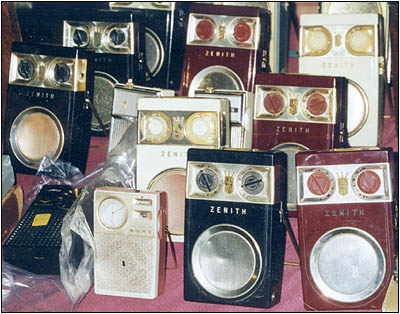 Zenith transistor radios of the 1950s.