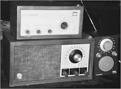 Three different KLH radios designed by Henry Kloss