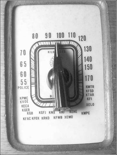 The dial scale from the Troy radio