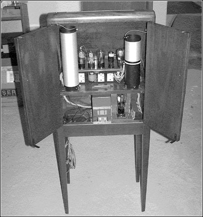 A rear view of the restored Theremin.