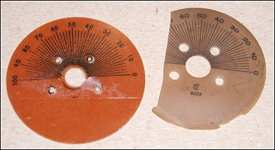 replica and original dial scales