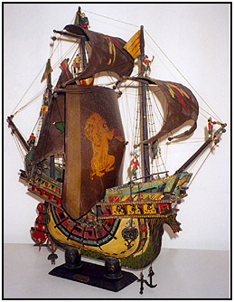 "The very colorful cone speaker ship model ""Venetian Lepanto"""