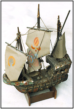 The ship model with the horn speaker inside its hull.