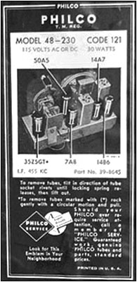 Label on the bottom of the Model 48-230