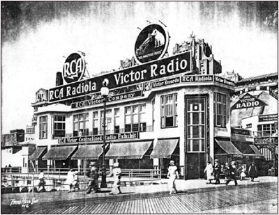 a photo of RCA Radiola and Victor Radio on the Atlantic City Boardwalk