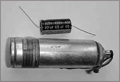 Improved manufacturing technology has reduced the size of electrolytic capacitors