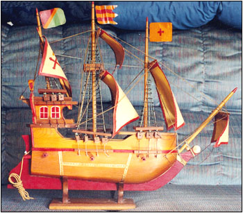 The wooden ship model that in reality is a radio antenna.