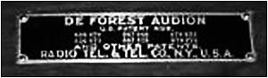 The De Forest Audion nameplate