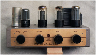 A head-on view of the Radio Shack 'Little Jewel' Model LJ-2 amplifier