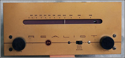 A front panel view of the Radio Shack FM tuner