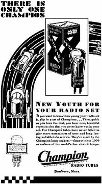 Champion radio tube ad
