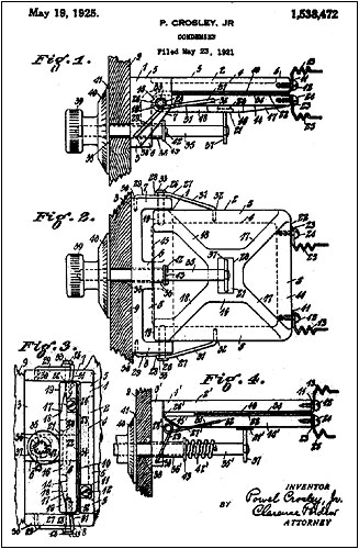 Powel Crosley's patent drawing