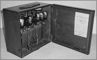 The Marconi Model 55 receiver shown with the back cover open