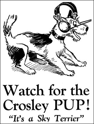 An early Crosley advertisement featuring the Pup