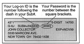 Your Log-on ID and your Password are on your mailing label.