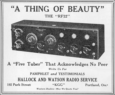 The Hallock and Watson RF22