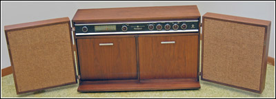 restored General Electric Model RC-1671A stereo AM/FM radio/record player
