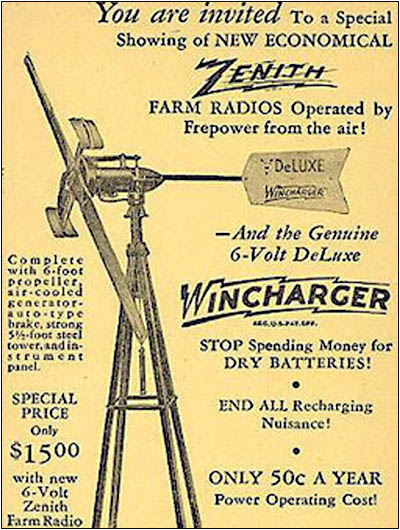 Zenith Wincharger ad from the 1930s