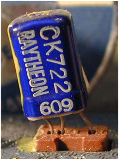 A Raytheon CK722 transistor and socket