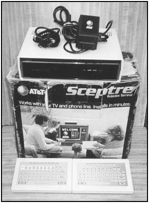 The Sceptre Videotex Terminal, power supply, cables, and keyboards.