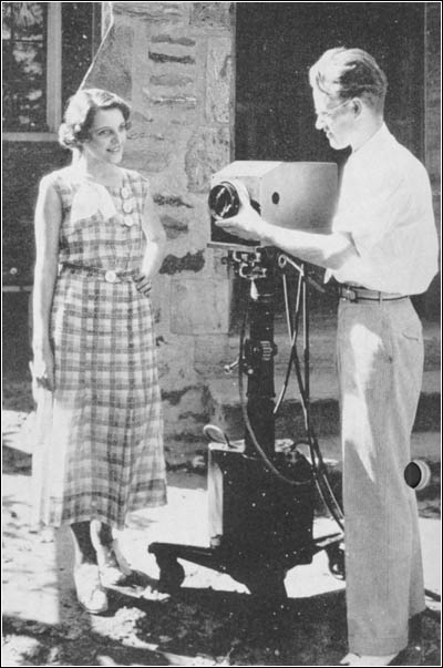Philo T. Farnsworth demonstrating a 1935 version of his television camera