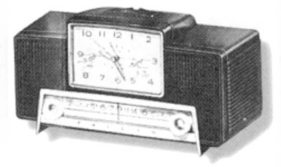 "The 1959 Model G751-124 ""All American 5"" plastic clock radio."