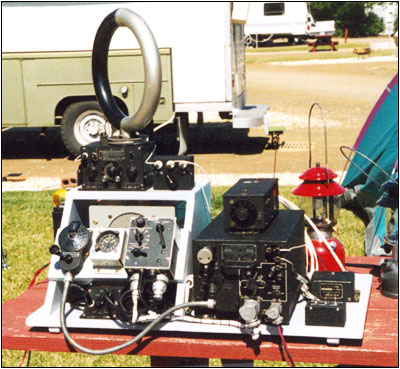 A Navy Type ARB communications receiver is combined with a ZB-3 UHF navigation receiver on top.