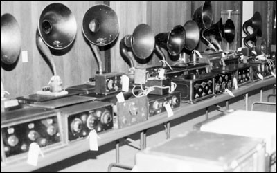 A sampling of battery radios and horn speakers