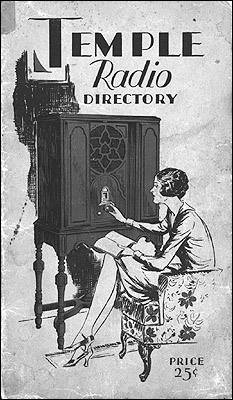 "The cover of the ""Temple Radio Directory"" of the late 1920s."