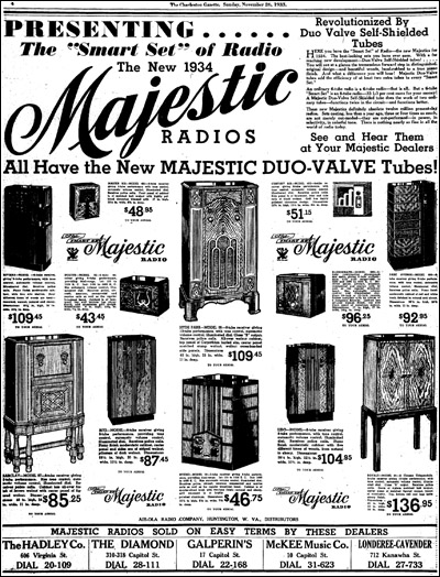 An advertisement (partial) for Majestic's 1934 'Smart Sets' line