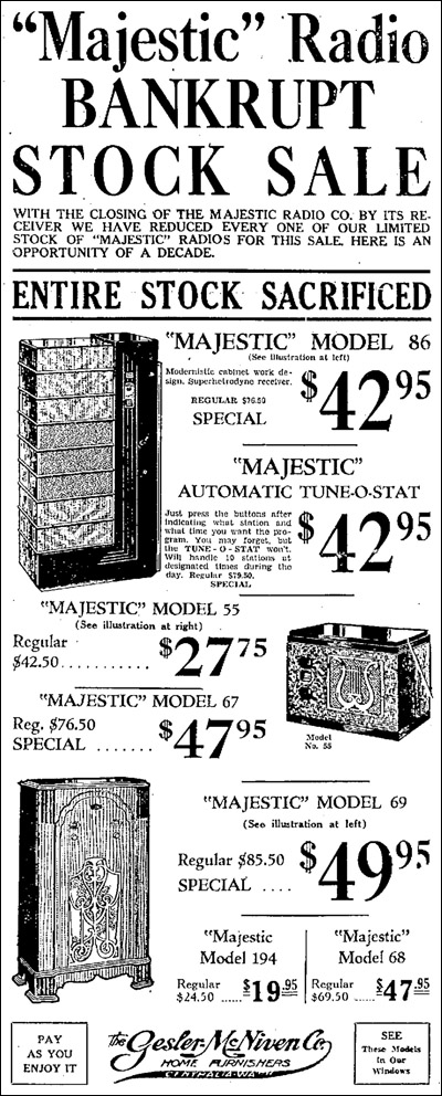 Majestic Radio bankrupt stock sale advertisement