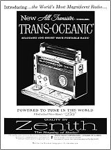 An ad for the Zenith All-Transistor Trans-Oceanic.