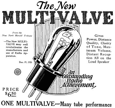 A 1927 advertisement for the Emerson Multivalve tube.